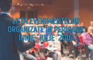 LISTA EVENIMENTELOR ORGANIZATE ÎN PERIOADA  IUNIE- IULIE  2016