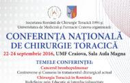 CONFERINȚA NAȚIONALĂ DE CHIRURGIE TORACICĂ 22-24 septembrie 2016