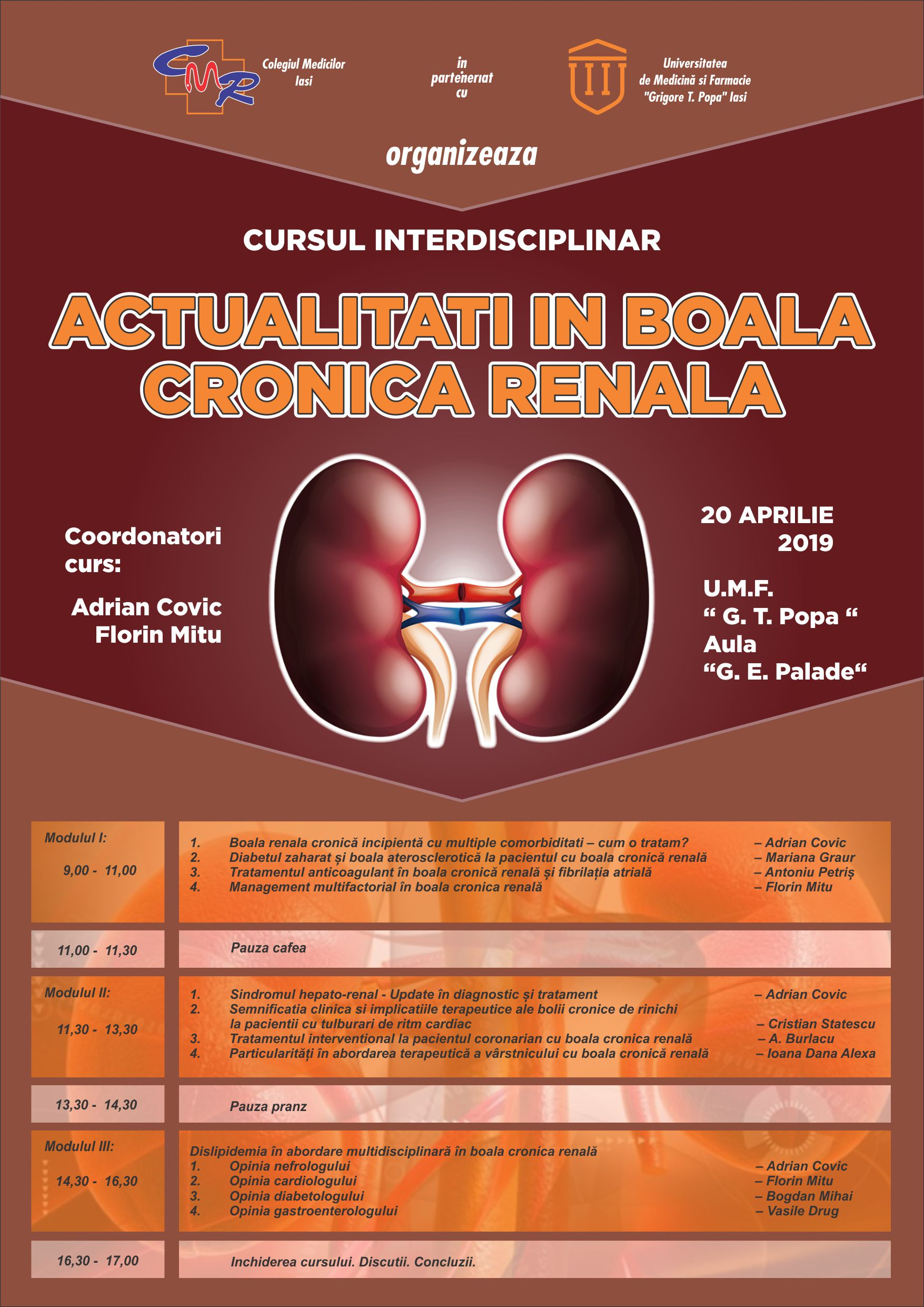 Cursul interdisciplinar – Actualitati in boala cronica renala – 20 Aprilie 2019