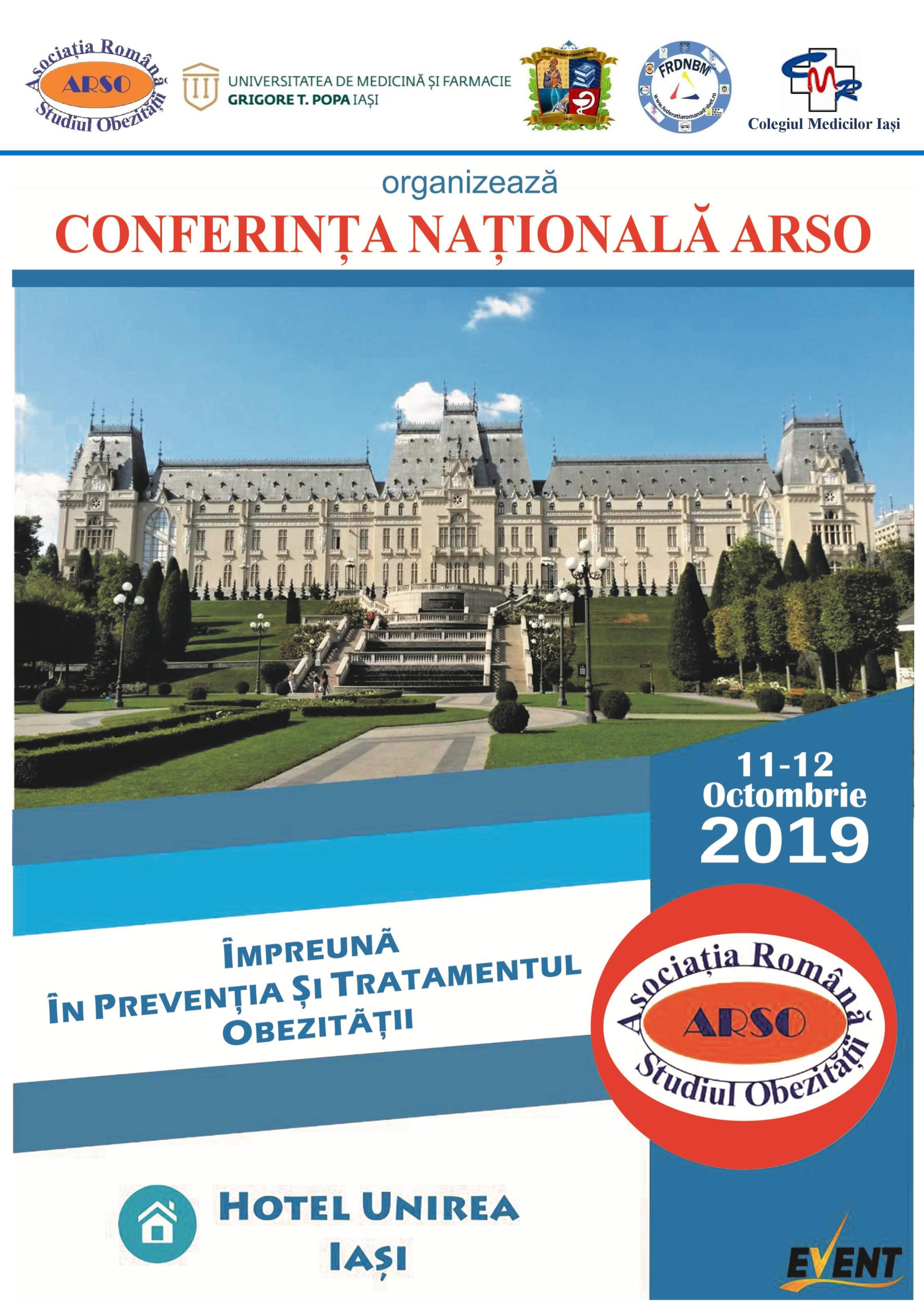 """Conferința Națională de Obezitate cu tema """"Împreună în prevenția și tratamentul obezității"""" 11-12 Oct 2019"""