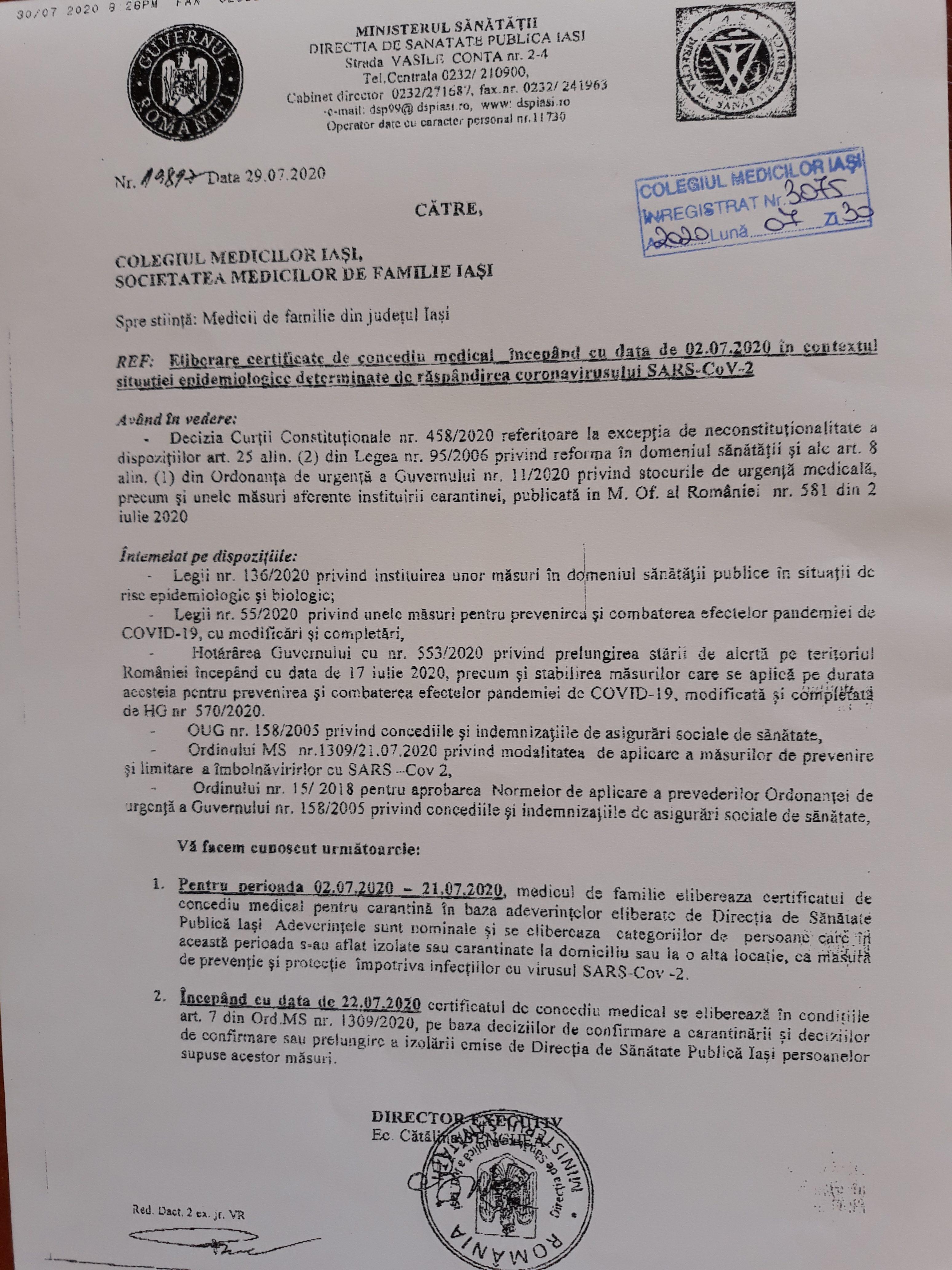 Eliberare certificate de concediu medical incepand cu data de 02.07.2020 in contextul situatiei epidemiologice determinate de raspandirea coronavirusului SARS-CoV-2